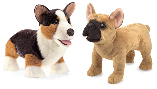 Corgi and French Bulldog Puppets